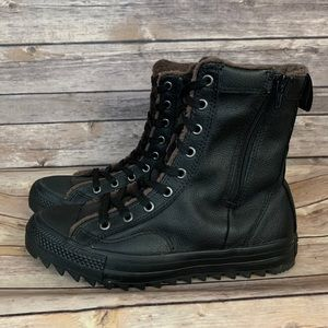 Converse Fleece Lined Black Leather High Top